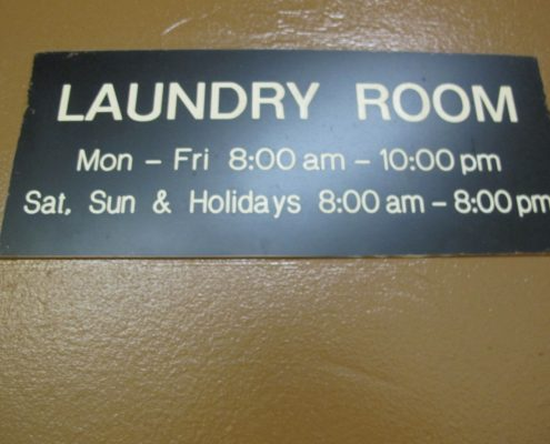 145 Lincoln Ave laundry room sign